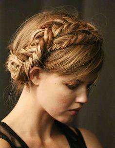 fishtail braid updo crown