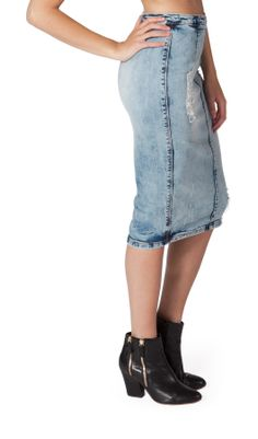 Knee Length Destroyed Denim Skirt - Stonewash - Fran. #denimskirt ...