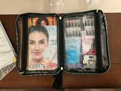 Just wanted to share how easy it can be to carry around brochures and samples. I am currently using a double sided makeup bag that can easily hold Avon and Mark brochures, as well as small and large samples, including body sprays and perfumes. Hope this is helpful for any new or current reps looking to carry & share  there business with them more easily.