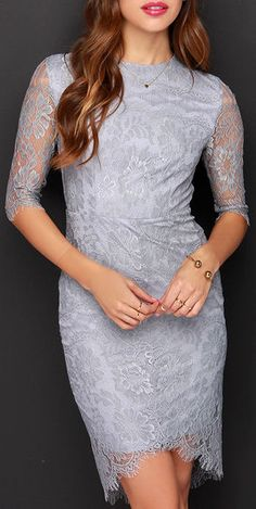 Angel Eyes Grey Lace Dress, LOVE this color