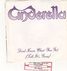 """Cinderella / Don't Know What You Got Till Its Gone / Fire And Ice / 7"""" Vinyl 45 Record, Picture Sleeve & Jukebox Strip #Cinderella"""
