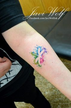 Watercolor Dragonfly Tattoo. Tattooed by javiwolfink www.facebook.com/javiwolfink