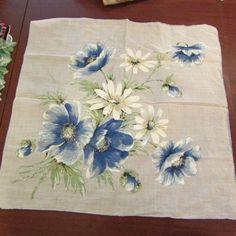 "Stunning Blue White Poppy Flower Hand Roll Estate Vintage Handkerchief Hanky 16"" #Unbranded #Floral"