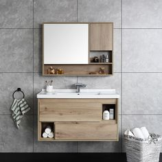 Space-saving as well as chic, this wall-mounted vanity brings a place to primp, coif, and style to your powder room without taking up precious floor space. Featuring natural wood tone, this functional vanity adds effortless warmth and grace. Floating Bathroom Vanities, Floating Vanity, Single Sink Bathroom Vanity, Wood Bathroom, Bathroom Furniture, Bathroom Ideas, Bathroom Organization, Ikea Bathroom, Bathroom Layout