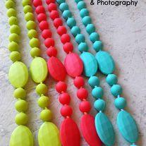 Neon BPA Free Non Toxic Silicon Teething Necklaces from Yiru Yiru Baby Shop Sock Animals, Wet Bag, Teething Necklace, First Daughter, Beaded Necklace, Necklaces, Baby Shop, Headbands, Food Grade