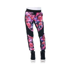 ROSE PRINT FLEECE JOGGER PANT ($15) ❤ liked on Polyvore featuring activewear, activewear pants, pants, bottoms, sweats and jeans