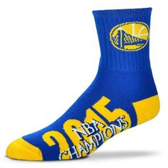 For Bare Feet Golden State Warriors Royal/Gold 2015 NBA Finals Champions Team Logo Crew Socks