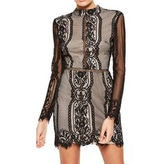 Women's Missguided Open Back Lace Dress ($93) ❤ liked on Polyvore featuring dresses, black, lace cocktail dresses, lace dress, long sleeve sheath dress, long sleeve lace dress and sheath dresses