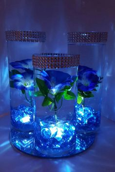Wedding Centerpiece Floating Flower Centerpiece LED lights - My CMS Floating Flower Centerpieces, Blue Wedding Centerpieces, Floating Candle Centerpieces, Floating Flowers, Sweet 16 Centerpieces, Quince Decorations, Quinceanera Decorations, Diy Wedding Decorations, Wedding Ideas