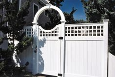 """48"""" Wide Single Arched Halo with keystone and Scalloped Westbrook English lattice signature gate #fence #fencing #yard #backyard #outdoor #home #house #landscape #landscaping"""