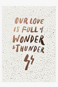 Wonder and Thunder Print - White Our Love, Thunder, Bedroom, Bedrooms, Dorm Room, Dorm