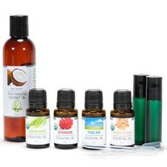 Essential Oil Advanced Collection Set includes four essential oils and blends, a 4 oz bottle of fractionated coconut oil to create your own skin applications, two glass rollerball vials and 2 disposable pipettes. Set of 4 - 15 ml oils amber bottles of essential oils: Frankincense, Lemongrass, Geranium and Pure Air. Presented in a gift box. Essential oils are either USDA certified organic or wildcrafted.