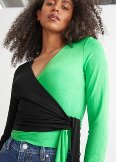 Two-Tone Wrap Top - Black/Green - Tops & T-shirts - & Other Stories GB