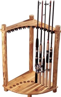 Sturdy Corner Rack Fishing Rod Holder Storage Organizer Wooden Display Stand #rack
