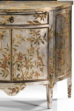 Antiqued Hand-Painted Cabinet Antiqued Hand-Painted Cabinet Dandelion Spell dandelionspell Luxury Furniture Beautiful hand-painted demilune cabinet painted with floral and bird design on nbsp hellip painted furniture Repurposed Furniture, Shabby Chic Furniture, Cheap Furniture, Rustic Furniture, Luxury Furniture, Vintage Furniture, Modern Furniture, Furniture Ideas, Bedroom Furniture