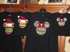 Disney Mickey Minnie Mouse Applique Holiday Santa T-Shirt Custom Personalized Christmas