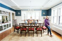 Stylemakers: Jen Ziemer from Fiddlehead Design Group   (Minneapolis, St. Paul) loves bright colors, and it shows in this beautiful blue dining room! Photo by Sara Rubinstein