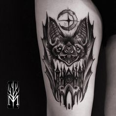 Bat with castle! tattoo by Maxmauro #Maxmauro #tattoo #bat #castle #blackwork #neotraditional #Coldstreet #sketch