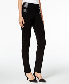 Style & Co. Petite Faux-Leather-Trim Pants, Only at Macy's