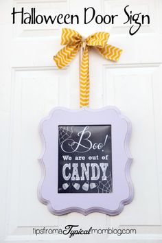 Free Printable Boo We Are Out of Candy Halloween Door Sign. Let the kids know when you are out of candy this Halloween with this cute free printable.