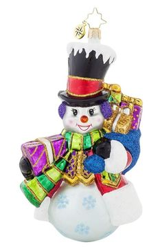 Christopher Radko 'Top Hat Frosty' Snowman Ornament available at #Nordstrom