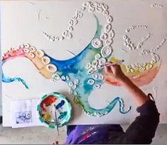 Custom-made Octopus Ocean Painting Acrylics w/ textured Octopus Painting, Octopus Wall Art, Diy Painting, Octopus Bathroom, Tattoo Mutter, Paintings Famous, Ocean Art, Ocean Mural, Ocean Life