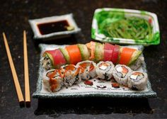 Rainbow roll + Philadelphia roll + what looks to be a spicy tuna roll