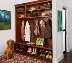 Mud Room- I like the differing heights of the shoe cubbies- I may actually like this one best, but I think I would do black.