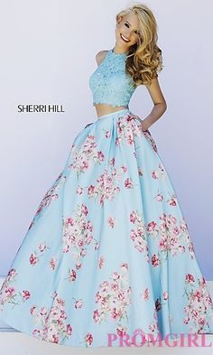 Two Piece Print Ball Gown by Sherri Hill at PromGirl.com