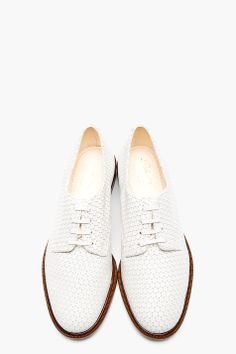 ROBERT CLERGERIE White leather disc Jasg Derbys
