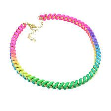 Chic Enchanting Seven Colours Fabric Jelly Colore Bib Statement Necklace QX208H