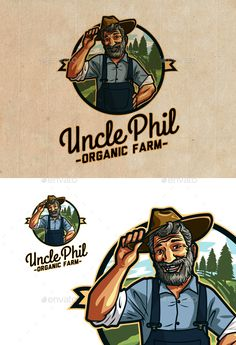 Uncle Phil's Organic Farm - Farm & Garden Logo by Suhandi An unique, retro-styled and strong design this logo is just perfect for face of your brand, you won't find anywhere unique design Logo Branding, Branding Design, Logo Design, Brand Identity, Graphic Design, Logo Character, Logo Face, Cafe Logo, Organic Logo