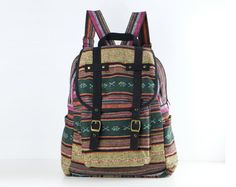 Woven Backpack Ethnic Tribes Rustic Folk Traditional by TaTonYon, $39.00