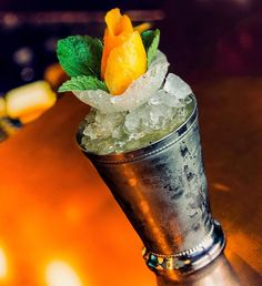 Ron The Peach Hunter 🍑🌿🙊 -  by Jose De La Rosa in Spain.  Recipe: - 6 cl Ron de Jeremy Spiced Rum - 10-12 Fresh Mint Leaves - 4 cl Fresh Lemon Juice - 3 bar spoons Peach Jam   Shake vigorously then pour over crushed ice in a Julep glass.