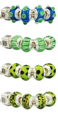 Classy Pandora glass charms with green tonality. Murano glass beads made in Italy Venice. Italian wholesale fashion jewellery. Colorful, bright, imaginative, customizable. Assembled with a monolithic 925 sterling silver core. The glass beads are equipped with a single piece of silver, and not with two cheap eyelets sticked with glue like most Chinese low-quality beads.