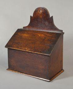 "Welsh oak salt box. West Wales 19th century. 12″ wide x 14½ high x 6½"" deep"