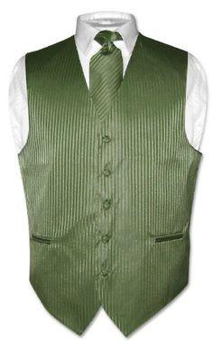 Men's Dress Vest & NeckTie Olive Green Striped Vertical Stripes Design Set for Suit or Tuxedo