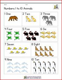 Pre k number worksheets to 10 animals col angielski Pre K Worksheets, Printable Math Worksheets, Printable Animals, Kindergarten Math Worksheets, Number Worksheets, Maths, Numbers For Kids, Numbers Preschool, Preschool Activities