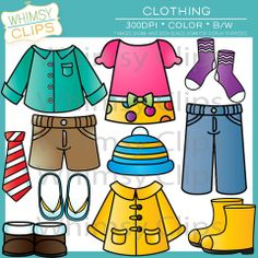 The clothing clip art set contains 36 image files, which includes 18 color images and 18 black & white images in both png and jpg. All images are 300dpi for better scaling and printing. $