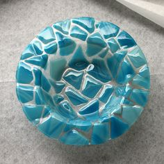 Fused glass bowl blue over clear round dish. $55.00, via Etsy.
