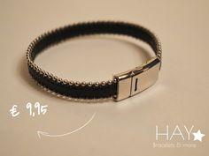 Armband met zilveren balletjes | Zwart