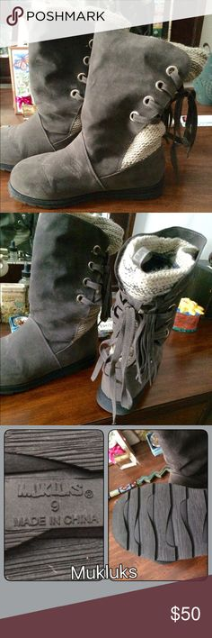 Mukluks Warm Lined Winter Ankle Boots Soft and cushy inside. Padded sole with a warm sock flannel lining. Grey faux swayed outer that is water resistant.  Bought brand new but never worn.  Brand new condition. Size 9 Muk Luks Shoes Winter & Rain Boots