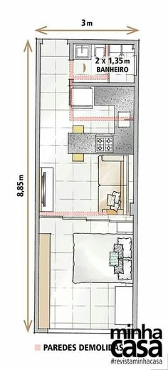 Studio Apartment Floor Plans, Studio Apartment Layout, Small Apartment Design, Small House Design, Small Apartment Plans, A Frame House Plans, Small House Floor Plans, Narrow House, Container House Plans