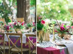 purple tablescape. Vibrant bohemian wedding inspiration