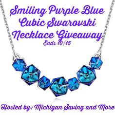 Smiling Purple Blue Cubic Swarovski Necklace Giveaway  One winner will receive PLATO H Smiling Women's  18″ Pendant Necklace with Swarovski Crystal Gift valued at $122 Available to United States residents only must be 18+ and ends 10/15/16 11:59 pm.