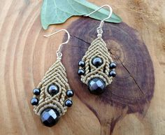 Hematite macrame earrings, gemstone earrings, macrame jewelry, micro macrame, boho earrings, macrame stone, bohemian earrings