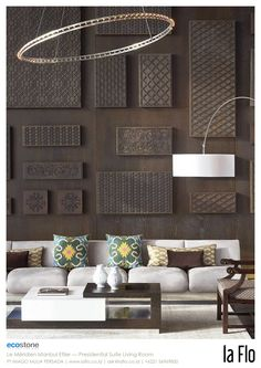 Design idea: back wall. #stoneveneer at Le Méridien Istanbul Etiler - Presidential Suite Living Room