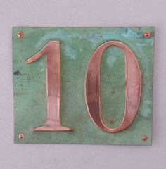 """Large Outdoor Copper Number Address Plaque  2 x 6""""/150mm high, worldwide signed for delivery, unique on the web"""