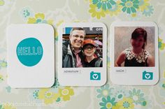 Studio Calico Letterpress Project Life Cards - like how she mounts her photos to look like Polaroid frames, with a label