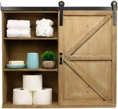 100+ Farmhouse Themed Cabinets For Sale! Find the top-rated farm home style cabinets and rustic storage cabinets for your home. Barn Door Decor, Barn Wood, Bathroom Medicine Cabinet, Toilet Paper, Shabby Chic, How To Remove, Shelves, Rustic, Doors